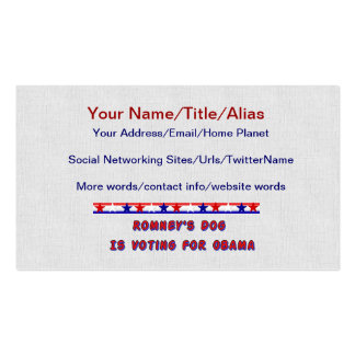 Romney's Dog Pack Of Standard Business Cards