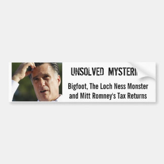 Romney's Taxes Bumpersticker Bumper Sticker