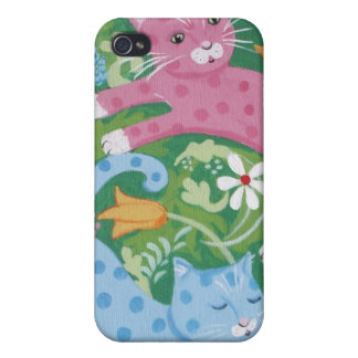 Romping Cats in a Garden Covers For iPhone 4