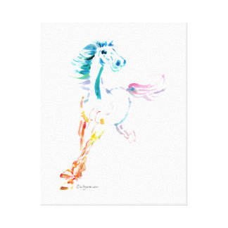 Romping Rainbow Horse Art Gallery Wrapped Canvas