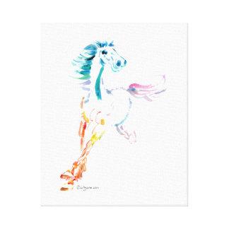 Romping Rainbow Horse Art Canvas Print