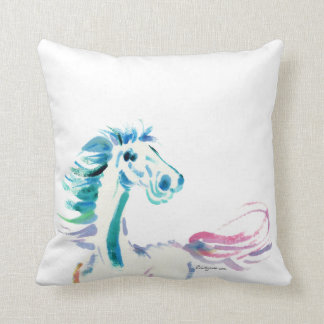 Romping Rainbow Horse Art Cushion
