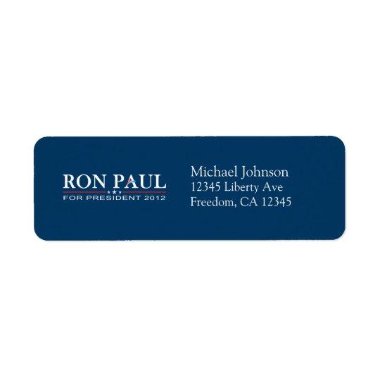 Ron Paul 2012 - Ron Paul for President Return Address Label