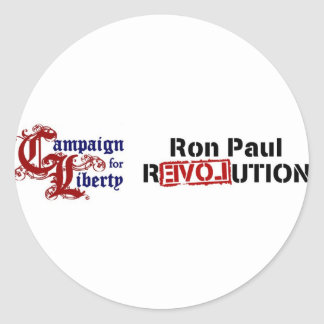 Ron Paul Campaign For Liberty Revolution Round Sticker