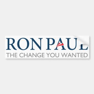 Ron Paul Change You Wanted Bumper Sticker