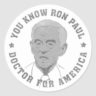 Ron Paul doctor for America Round Sticker