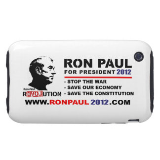 Ron Paul For President 2012 www.ronpaul2012.com iPhone 3 Tough Covers