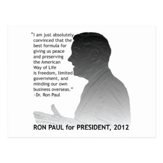 Ron Paul for President of the USA, 2012 Post Card