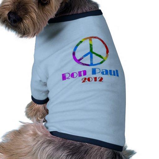 Ron Paul Peace Sign Rainbow Dog Shirt
