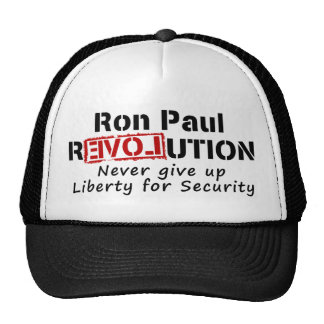 Ron Paul rEVOLution Never give up Liberty Cap