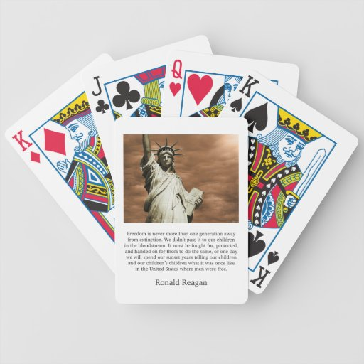 Ronald Reagan Freedom Quote Bicycle Poker Deck