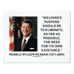 Ronald Reagan Welfare's Purpose Eliminate Need Personalized Announcements