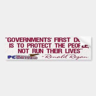Ronald Regan Quote Governments First Duty Bumper Sticker