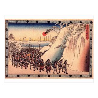 Ronin Enter Sengakuji Temple to Pay Homage to Thei Postcard