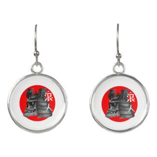 Ronin Samurai Armor Skull Earrings