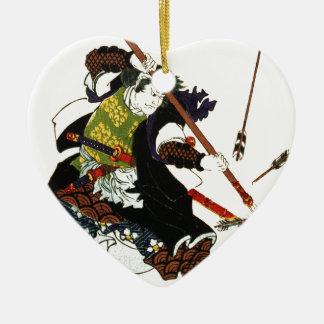 Ronin Samurai Deflecting Arrows Japanese Japan Art Ceramic Heart Decoration
