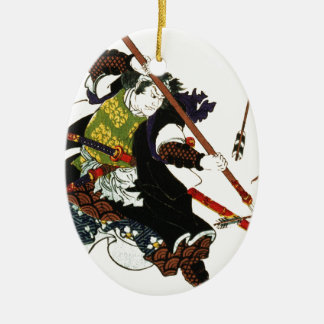 Ronin Samurai Deflecting Arrows Japanese Japan Art Ceramic Oval Decoration