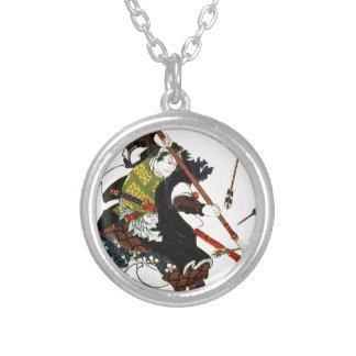 Ronin Samurai Deflecting Arrows Japanese Japan Art Silver Plated Necklace