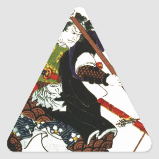 Ronin Samurai Deflecting Arrows Japanese Japan Art Triangle Sticker