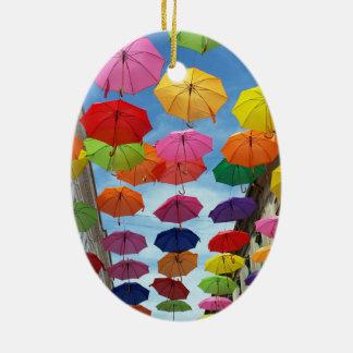 Roof of umbrellas ceramic ornament