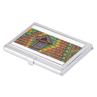 roof tiles with color in Obernai - Alsace - France Business Card Holder