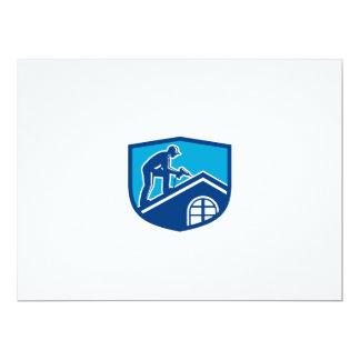 Roofer Construction Worker Working Shield Retro 17 Cm X 22 Cm Invitation Card