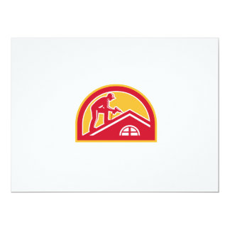 Roofer Working on Roof Half Circle Retro Card