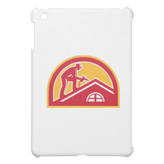 Roofer Working on Roof Half Circle Retro iPad Mini Cover