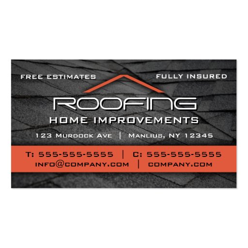 Roofing Professional Business Card Orange