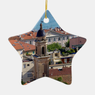 Roofs and Basilica at Menton in France Ceramic Ornament
