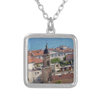 Roofs and Basilica at Menton in France Silver Plated Necklace