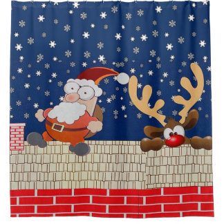 Rooftop Santa Claus and Reindeer Shower Curtain