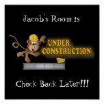 Room Under Construction Funny Monkey Poster