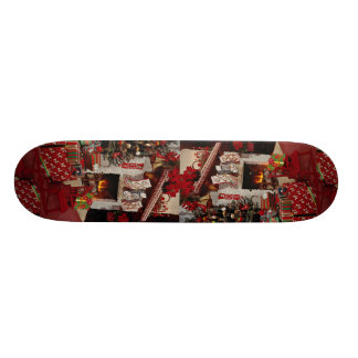 Room with stone fireplace Christmas setting Skate Boards
