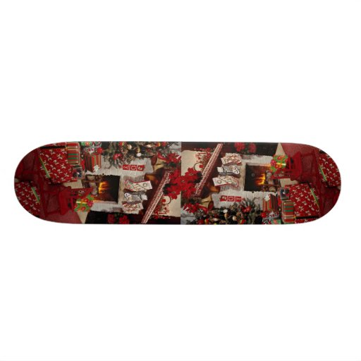 Room with stone fireplace, Christmas setting Skate Boards