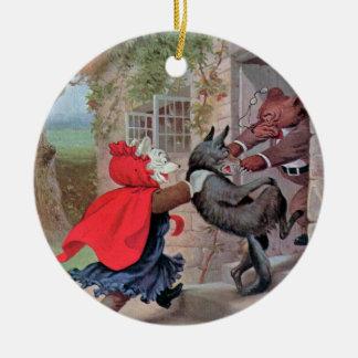 Roosevelt Bears Play Little Red Riding Hood Round Ceramic Decoration