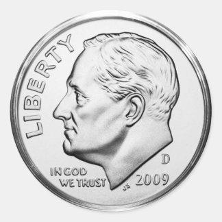 Roosevelt Dime (pack of 6/20) Round Sticker
