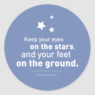 Roosevelt Quote Feet Star 20xstickers CUSTOM COLOR Round Sticker