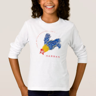Rooster 2017 Child Painting name L sleeve Kids Tee