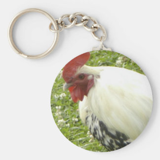 rooster (2) basic round button key ring