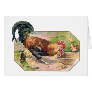 Rooster and Chicks Card