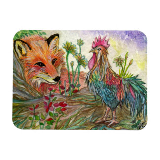 Rooster And Fox Magnet