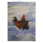 Rooster and Hen in the Snow Greeting Cards