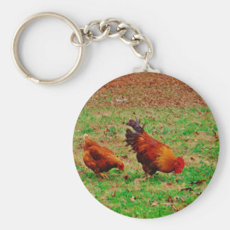 Rooster and Hen Key Chain