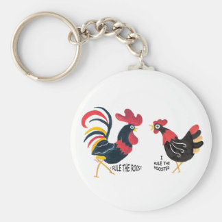 Rooster and Hen Keychain