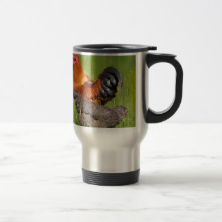 Rooster and hen travel mug