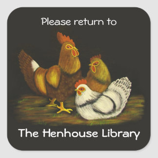 Rooster and Hens Bookplate ~ sticker