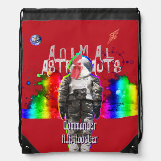 Rooster Animal Astronaut in Rainbow Universe Backpacks