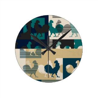 Rooster Art Design Round Clock