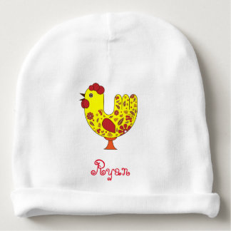 Rooster Baby Cotton Beanie with name Baby Beanie